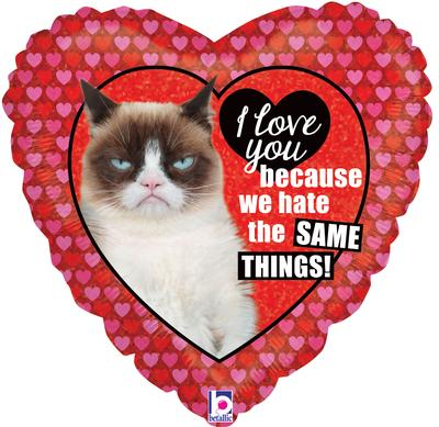 Betallic 18inch Grumpy Cat® Love Holographic - Foil Balloons