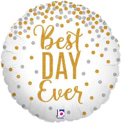 Glittering Best Day Ever Holographic - Foil Balloons