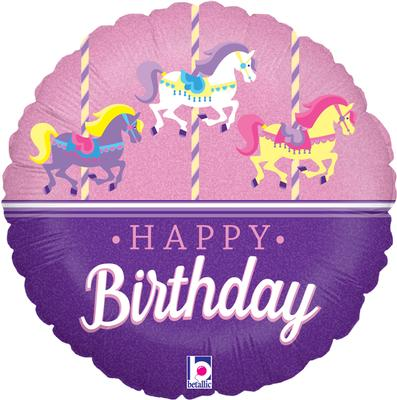 Betallic 18inch Carousel Birthday Holographic - Foil Balloons