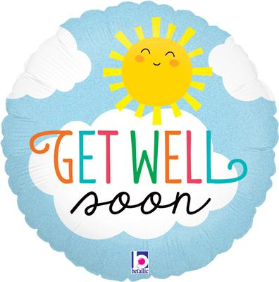 Betallic 18inch Get Well Soon Sun Holographic - Foil Balloons