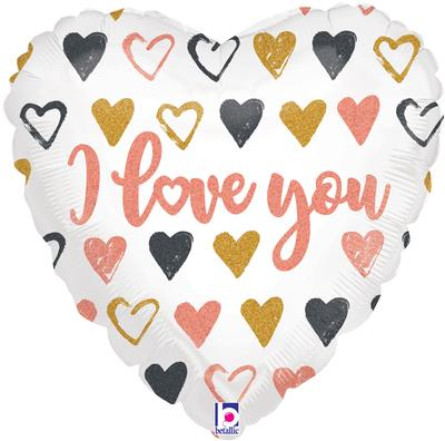 Betallic 18inch Rose Gold Hearts I Love You Holographic - Foil Balloons