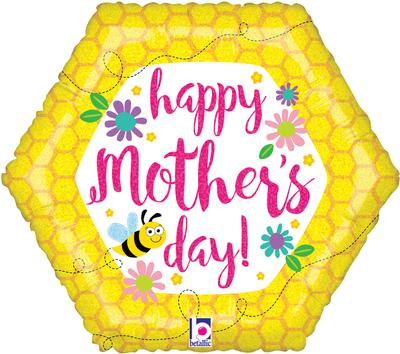Betallic 18inch Mothers Day Bee & Flowers Holographic - Seasonal