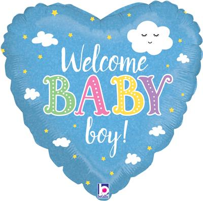 Betallic 18inch Welcome Baby Boy Holographic - Foil Balloons