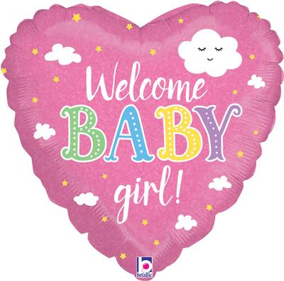 Betallic 18inch Welcome Baby Girl Holographic - Foil Balloons