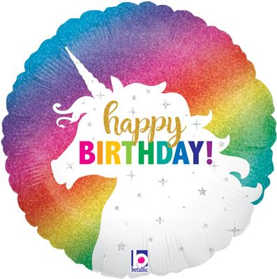 Betallic 18inch Glitter Unicorn Birthday Holographic - Foil Balloons