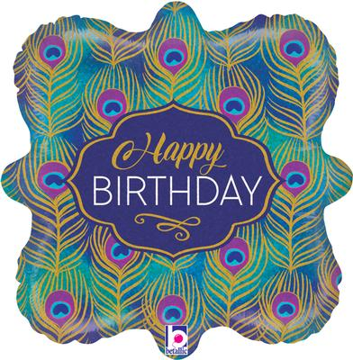 Betallic 18inch Glitter Peacock Birthday Holographic - Foil Balloons