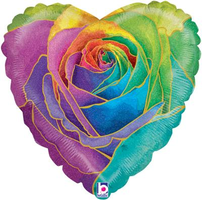 Betallic 18inch Rainbow Rose Holographic - Foil Balloons