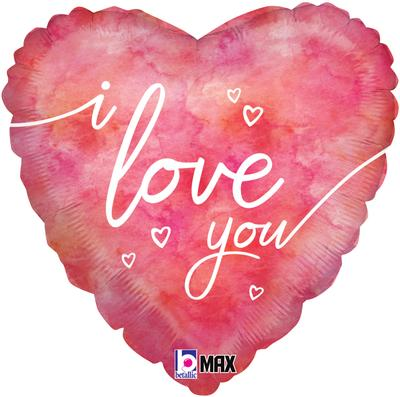 Betallic 18 Watercolour I Love You - Foil Balloons