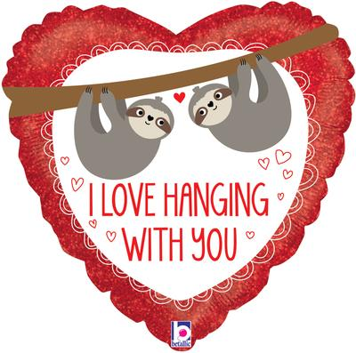 Betallic 18inch Love Hanging With You Sloth Holographic - Foil Balloons