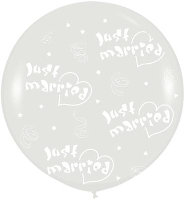 36inch Crystal Clear Allover Just Married Hearts (For Helium) (Special Net price) - Clearance