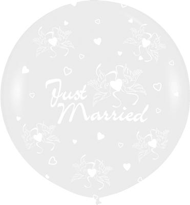 36inch Crystal Clear Allover Just Married Flowers (For Helium) (Special Net price) - Clearance