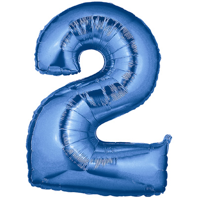 No 2 Blue - Foil Balloons
