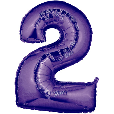 No 2 Purple - Foil Balloons