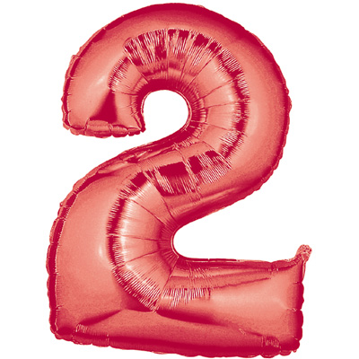 No 2 Red - Foil Balloons