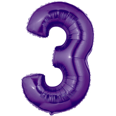No 3 Purple - Foil Balloons