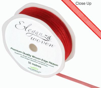 Woven Edge Ribbon 3mm x 50m Red No.16 - Ribbons