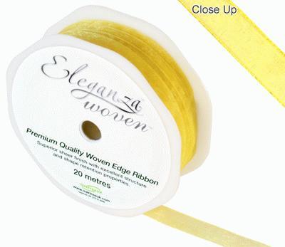 Woven Edge Ribbon 10mm x 20m Yellow No.11 - Ribbons