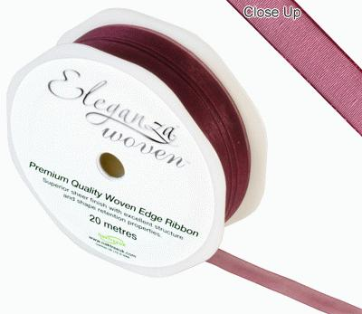 Woven Edge Ribbon 10mm x 20m Burgundy No.17 - Ribbons