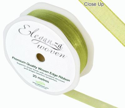Woven Edge Ribbon 10mm x 20m Pistachio No.27 - Ribbons
