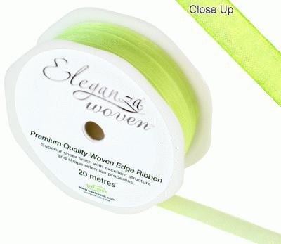 Woven Edge Ribbon 10mm x 20m Lime green No.14 - Ribbons