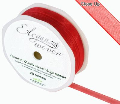Woven Edge Ribbon 10mm x 20m Red No.16 - Ribbons