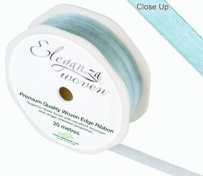 Woven Edge Ribbon 10mm x 20m Lt Blue No.25 - Ribbons