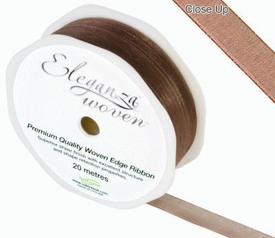 Woven Edge Ribbon 10mm x 20m Chocolate No.58 - Ribbons