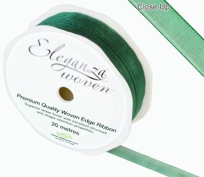 Woven Edge Ribbon 10mm x 20m Green No.50 - Ribbons