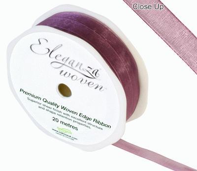 Woven Edge Ribbon 10mm x 20m Grape No.46 - Ribbons