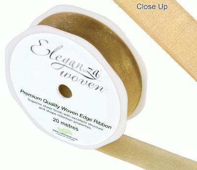 25mm Woven Ribbon Gold No.35A - Ribbons