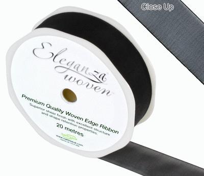 25mm Woven Ribbon Black No.20 - Ribbons