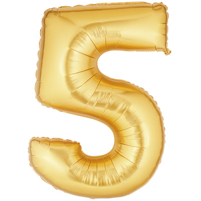 No 5 Gold - Foil Balloons