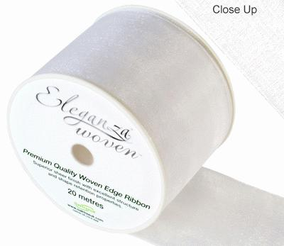 Woven Edge Ribbon 70mm x 20m White No.01 - Ribbons