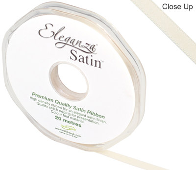 Eleganza Double Faced Satin 6mm x 20m Cream No.62 - Ribbons
