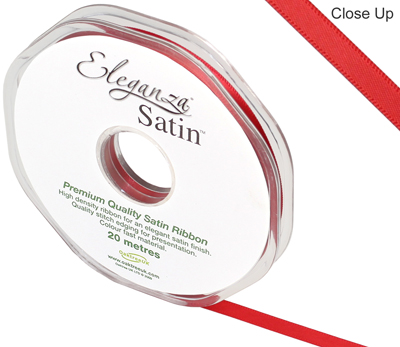 Eleganza Double Faced Satin 6mm x 20m Red No.16 - Ribbons