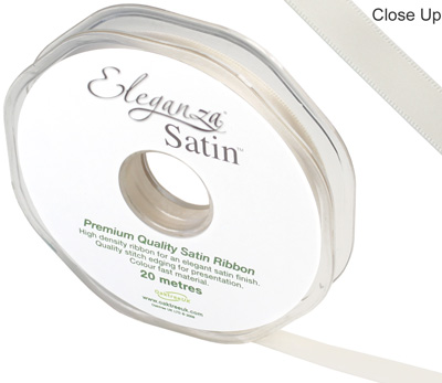 Eleganza Double Faced Satin 10mm x 20m Ivory No.61 - Ribbons