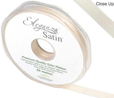 Eleganza Double Faced Satin 10mm x 20m Cream No.62 - Ribbons