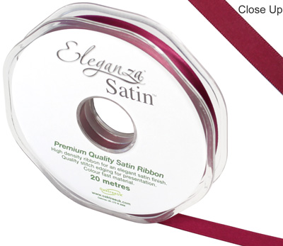 Eleganza Double Faced Satin 10mm x 20m Burgundy No.17 - Ribbons
