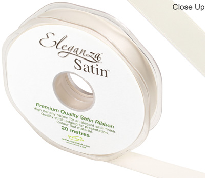 Eleganza Double Faced Satin 15mm x 20m Ivory No.61 - Ribbons
