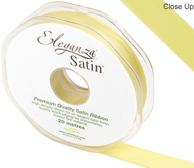 Eleganza Double Faced Satin 15mm x 20m Pale Yellow No.10 - Ribbons