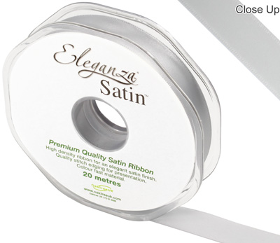 Eleganza Double Faced Satin 15mm x 20m Silver No.24 - Ribbons