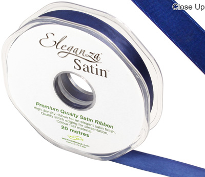 Eleganza Double Faced Satin 15mm x 20m Midnight Blue No.19 - Ribbons