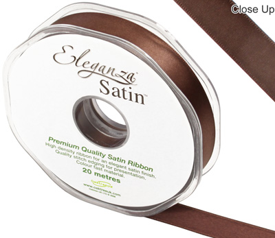 Eleganza Double Faced Satin 15mm x 20m Chocolate No.58 - Ribbons