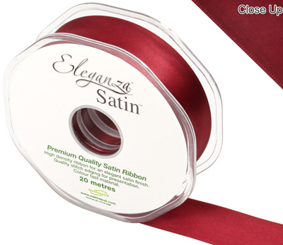 Eleganza Double Faced Satin 25mm x 20m Claret No.31 - Ribbons