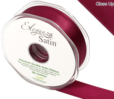 Eleganza Double Faced Satin 25mm x 20m Burgundy No.17 - Ribbons