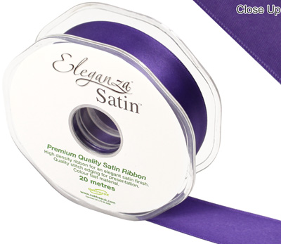 Eleganza Double Faced Satin 25mm x 20m Plum No.49 - Ribbons