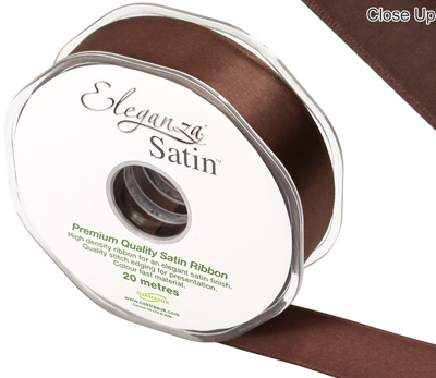 Eleganza Double Faced Satin 25mm x 20m Chocolate No.58 - Ribbons