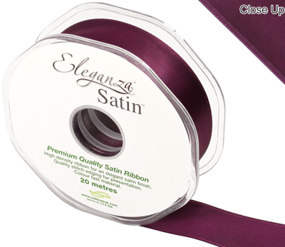 Eleganza Double Faced Satin 25mm x 20m Aubergine No.32 - Ribbons