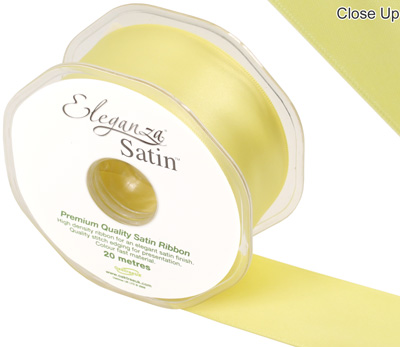 Eleganza Double Faced Satin 38mm x 20m  Pale Yellow No.10 - Ribbons