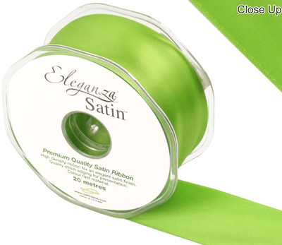 Eleganza Double Faced Satin 38mm x 20m  Pistachio No.27 - Ribbons